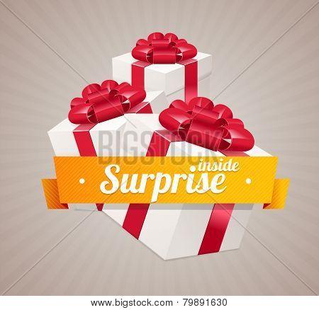 Vector gift box present card