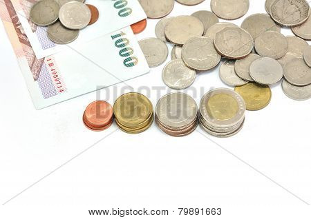 Thai Coins Baht And Notepad