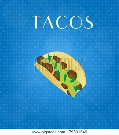 Food Menu Tacos With Blue Background