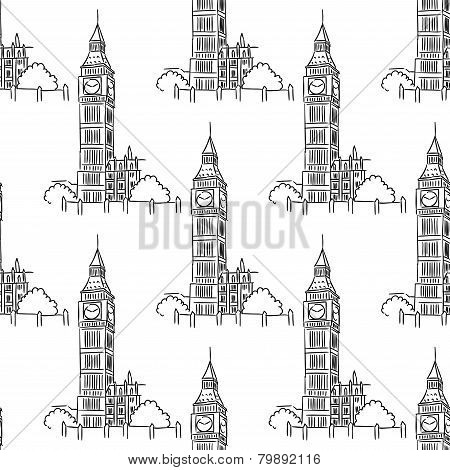 English Big Ben seamless pattern
