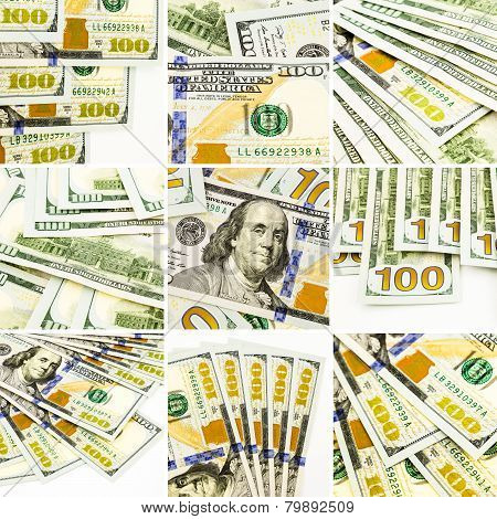 Set Of Money Images, New Dollar Banknotes Collage And Collection Theme