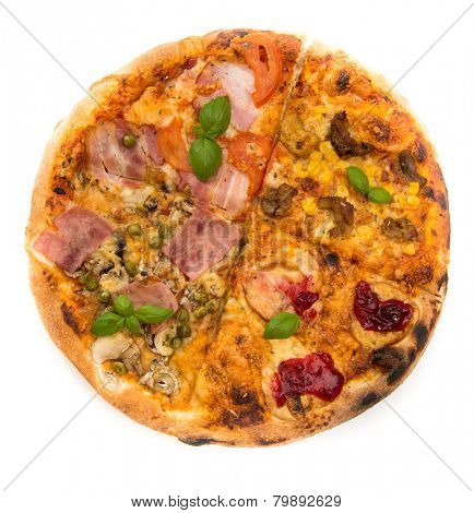 Italian Four Seasons Pizza isolated over a white background