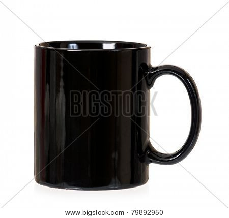 Empty black cup, isolated on white background