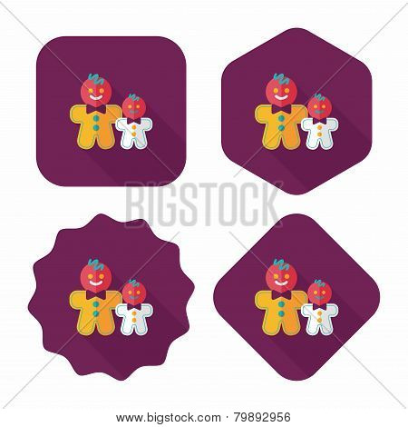 Gingerbread Man Flat Icon With Long Shadow