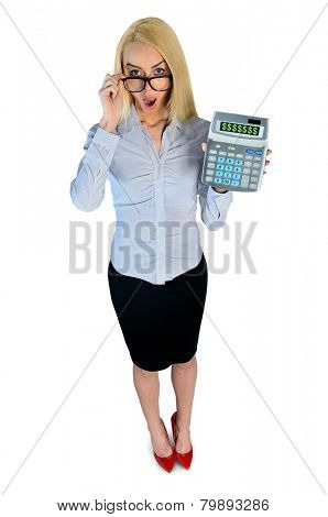 Isolated business woman surprised with hand calculator