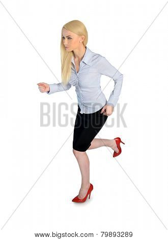 Isolated business woman run side view