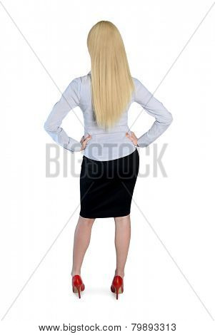 Isolated business woman back view