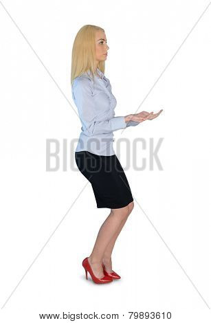 Isolated business woman lifting something