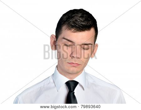 Isolated business man sleepy face