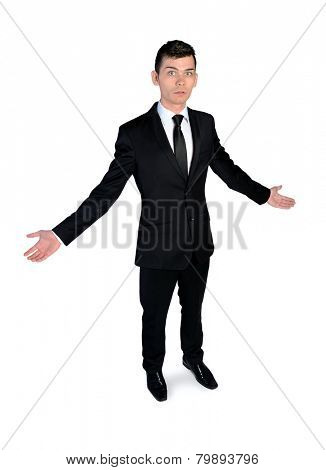 Business man confused with open arms