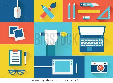 Vector Set Of Equipment For Design. Equipment For Creation. Flat Style Design With Shadows