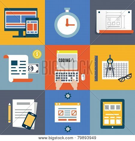 Vector Flat Illustration Concept Symbols Set Of Modern Programmer Workflow For Web Coding And Progra