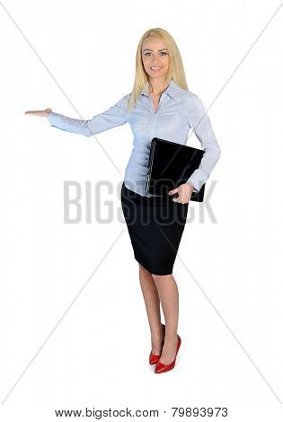Isolated business woman welcome hand