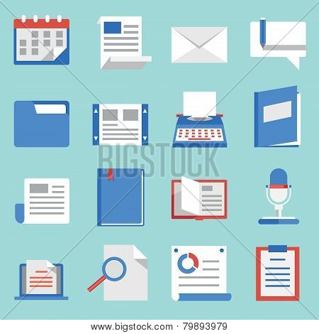 Set Of Vector Flat Icons For Web And Mobile Applications. Communications And Documents