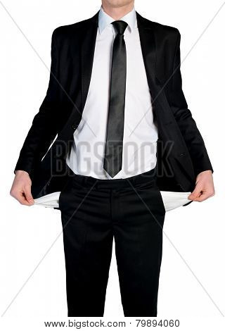 Business man showing empty pockets