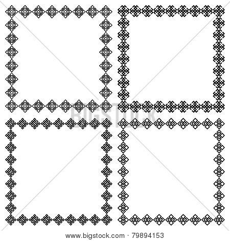 Four square ethnic geometric frames for your design or text