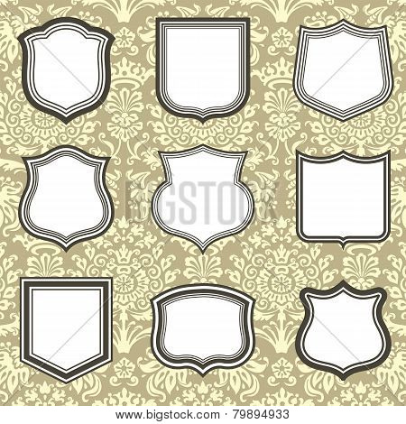 Shield Frames on Damask Background