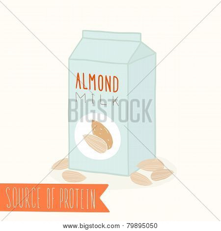 Almond milk in a carton pack.