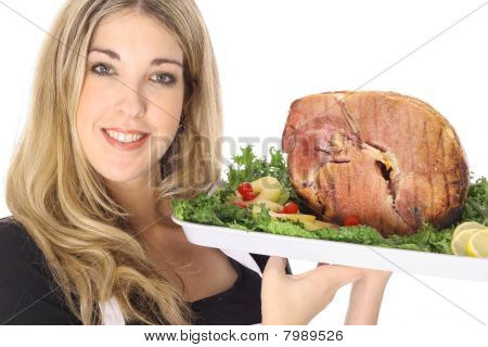 serving a honey baked ham