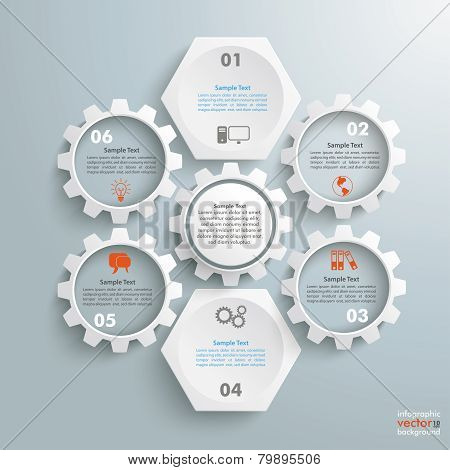 2 White Hexagons 4 Gears Cylce
