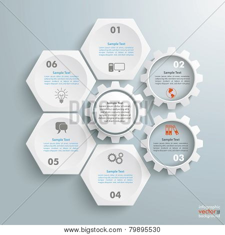 4 White Hexagons 3 Gears Cylce