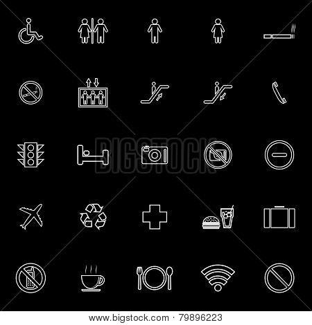 Public Line Icons On Black Background