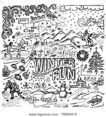 Vector sketch background with winter fun, snow board, snowball fight, snowman, Christmas, new year,  hockey, skating, sledge