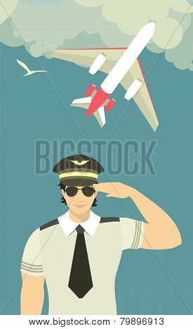 Pilot Of The Plane On Sky Background