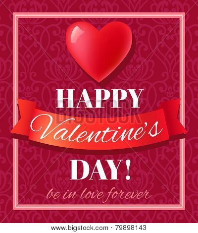Valentine�s Day card with heart shape and typography. Vector