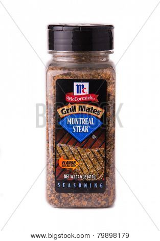 DEPEW, OK, USA - January 11th, 2015: Container of Montreal Steak seasoning made by McCormick. McCormick manufactures spices, herbs, and flavorings, and was founded in 1889 in Baltimore, Maryland, USA.