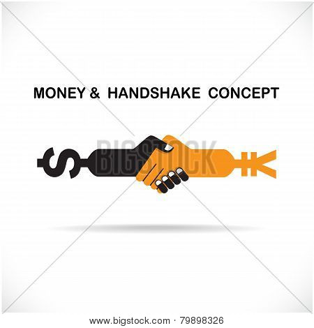 Business Partners Shaking Hands As A Symbol Of Unity, Handshake Abstract Design Template.
