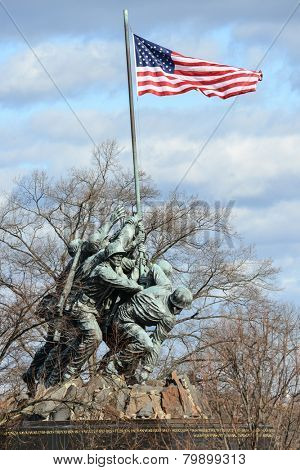 WASHINGTON, DC - DECEMBER 26, 2014: Iwo Jima Memorial in Washington, DC. The Memorial honors the Marines who have died defending the US since 1775 and a prominent tourist attraction in Washington DC.