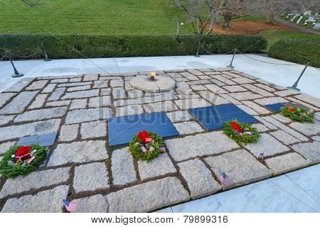 ARLINGTON, VA - DECEMBER 26, 2014: President John Fitzgerald Kennedy Gravesite in Arlington National Cemetery.