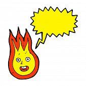 picture of fireball  - cartoon friendly fireball with speech bubble - JPG