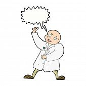 picture of mad scientist  - cartoon mad scientist with speech bubble - JPG