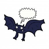 picture of vampire bat  - cartoon vampire bat with speech bubble - JPG