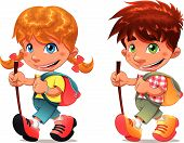 Trekking boy and girl