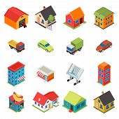 image of house plants  - Isometric House Real Estate Car Icons Retro Flat Set Isolated Vector Illustration - JPG