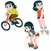 picture of animated cartoon  - Little girl on a bike - JPG