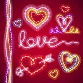 pic of amour  - Valentines Neon Hearts for Celebratory Design - JPG