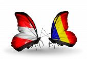 picture of chad  - Two butterflies with flags on wings as symbol of relations Austria and Chad Romania - JPG