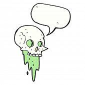 stock photo of gross  - gross halloween skull cartoon with speech bubble - JPG