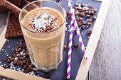 picture of smoothies  - Coconut coffee chocolate smoothie on a chalk board - JPG