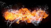 picture of infernos  - Beautiful stylish fire flames with water splash - JPG