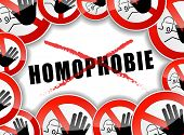 foto of stop hate  - french translation for stop homophobia abstract illustration - JPG