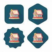 foto of gingerbread house  - Gingerbread House Flat Icon With Long Shadow - JPG