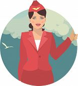 image of flight attendant  - young girl in the form of a flight attendant on a background of the sky with clouds - JPG