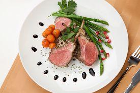 stock photo of crust  - Herb crusted lamb chops  - JPG