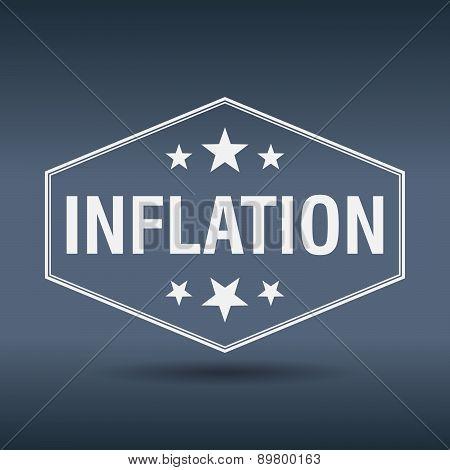 Inflation Hexagonal White Vintage Retro Style Label