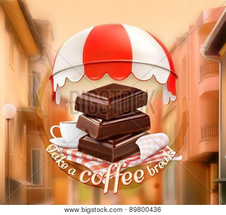 Pieces of chocolate and cup of coffee, awning over entrance, promotional sign, street background, invitation to a break, lunch time, vector advertising for chocolate houses, cafe and coffee shops